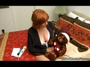Mature redhead mom plays with vibrators
