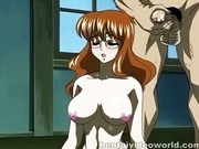 Busty girl gets her first hentai facial