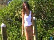 Sara naked on the landing stage